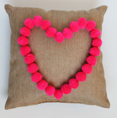 Pom Pom Heart Pillow 1