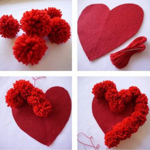 Pom Pom Heart Pillow Pattren