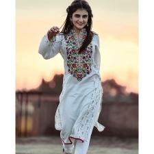 White Lawn Karandi Stitched Kurta With Embroidery