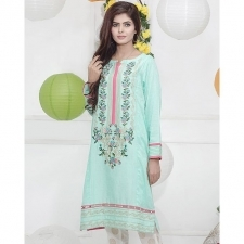 Green Textured Lawn Stitched Kurta with Embroidery