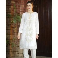 White Cotton Stitched Embroidered Kurta