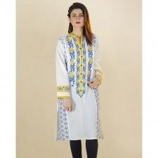 White Lawn Karandi Stitched Embroidered Kurta