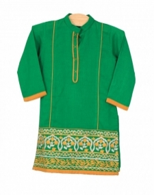 Mushrooms Green Karandi Kurta