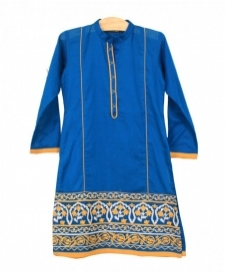 Mushrooms Poison Blue & Mustard Kurta