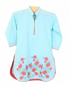 Mushrooms Sky Blue Printed Kurta