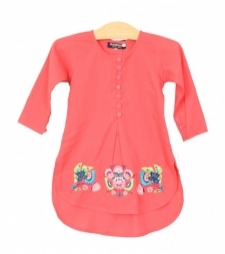 Mushrooms Coral Emb Kurta
