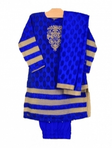 Mushrooms Royal Blue Chiffon Suit