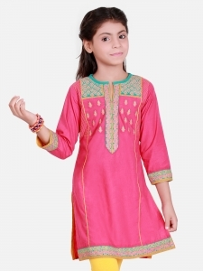 Pink Beautiful Kruta with Embroidery for Eid