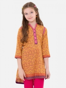Printed Yellow Kurta for Eid