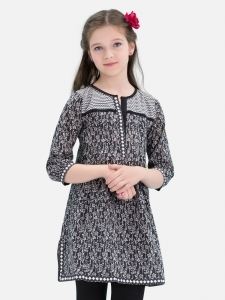 Printed Black Kurta for Eid
