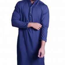 Unstiched Wash & Wear Gents Kurta - Royal Blue - 2.5 Meters