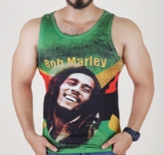 Bob Marley Sleeveless Men Tee-Green T-Shirt