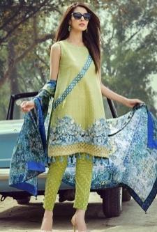 Saffron Lawn Embroidered Suit-6B
