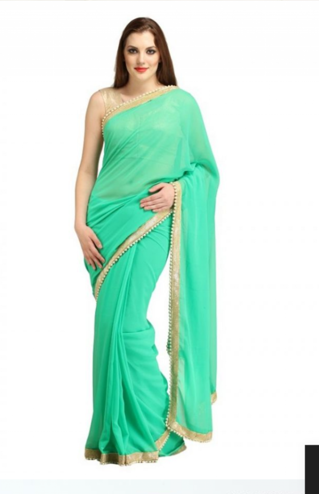 d08cdfecf55580 Buy Sea green Saree with golden blouse in Pakistan | Affordable.pk