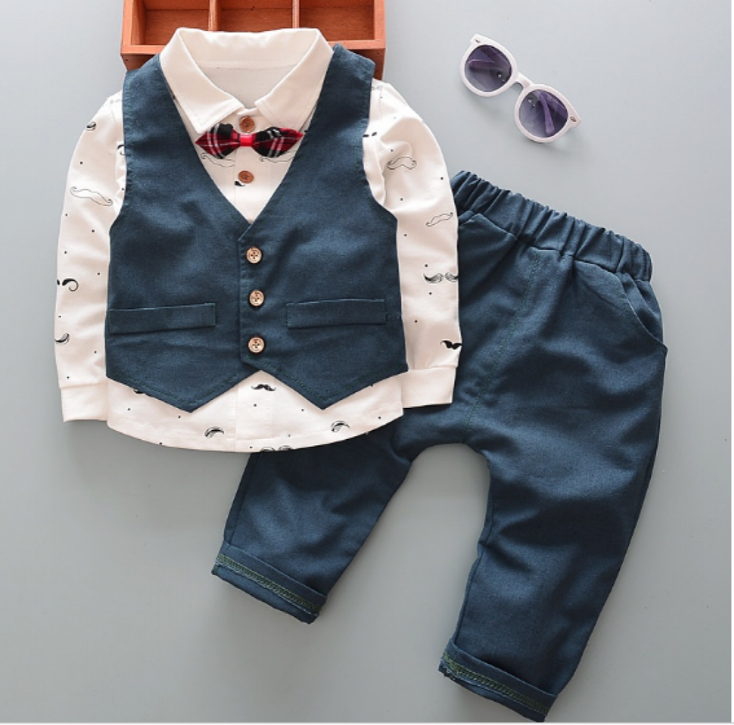 8812123aa 3PC Fashion Kids Baby Boy Clothing Wedding Party Suits Bow Tie Shirts +  Vest + Pants Gentlemen Sets