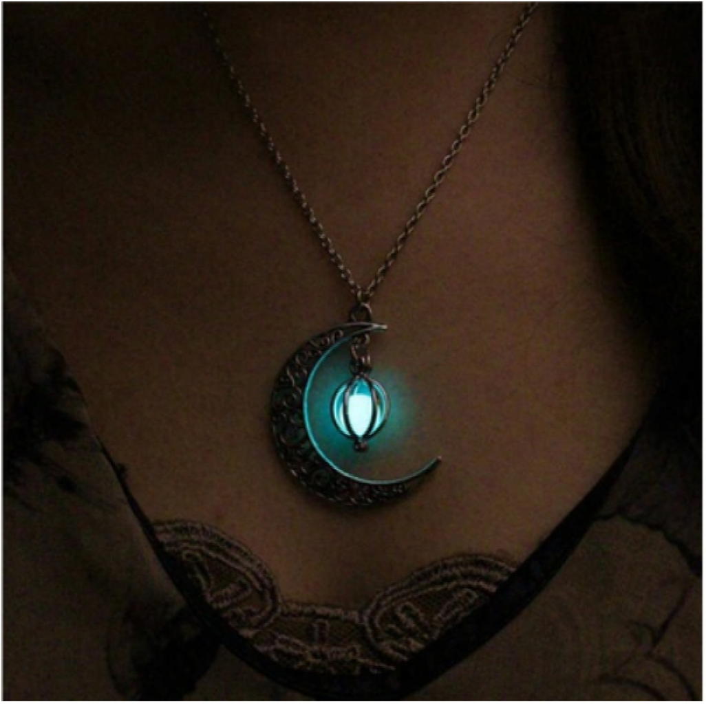 luminous dark item pierced pendant glowing drop in water women jewelry plated necklace silver vintage hollow from glow necklaces locket for
