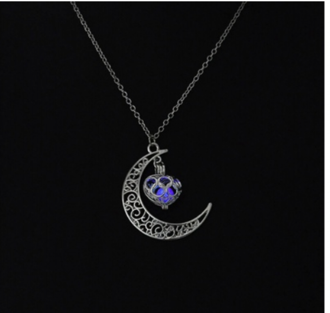 glowing party plated women ball jewelry luminous stone product necklace round the in silver dark pendant for superfect