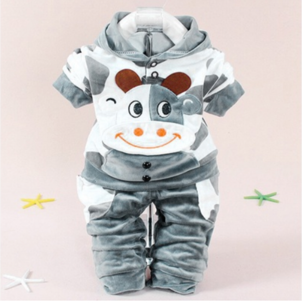 d6b284a7e50a Buy Baby Girls Boys Cartoon Cow Warm Outfits Clothes Velvet Hooded ...