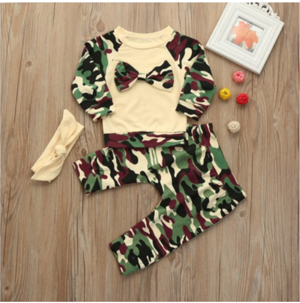 dc7a66dacadd60 Buy Newborn Toddler Baby Boys Camouflage Bow Tops Pants in Pakistan ...